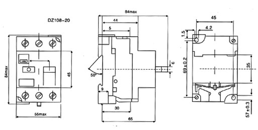 3ve1-motor-protection-circuit-breaker-dimension