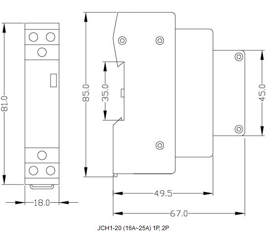 JCH1-20 (16A~25A) 1P, 2P